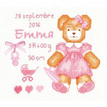 Kit Punto Croce - Le Bonheur des Dames - Cuscino da ricamare orsetto rose