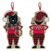Kit di ornamenti da ricamare - Le Bonheur des Dames - Gatto nero con fiocco in tartan