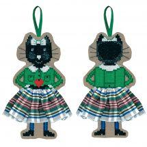 Kit di ornamenti da ricamare - Le Bonheur des Dames - Gonna in tartan bianco gatto