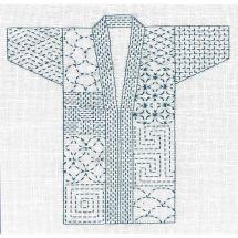 Kit di punti da ricamo - Le Bonheur des Dames - Kimono Sashiko bianco