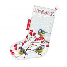 Kit calza di Natale da ricamare - Letistitch - Cince in inverno
