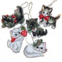 Kit di ornamenti da ricamare - Letistitch - Statuette di Natale per gattini