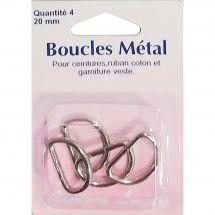Fibbie e clip - Couture loisirs - Anelli mezzotondi - 20 mm di metallo