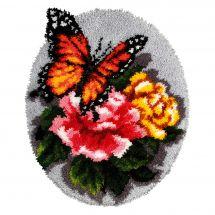 Kit tappeto a punto smirne - Orchidéa - Cuscino punto croce farfalla su rose