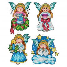 Kit di ornamenti da ricamare - Orchidéa - 4 angioletti