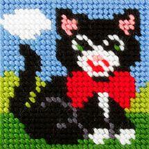 Kit di tela per bambini - Orchidéa - Gatto nero