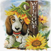 Kit Punto Croce - Ladybird - Cane sotto i girasoli