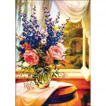 Kit Punto Croce - Needleart World - Vaso di fiori davanti alla finestra