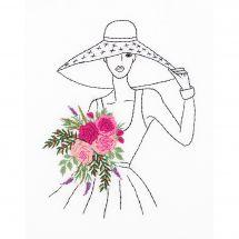 Kit di punti da ricamo - Panna - Donna al cappello