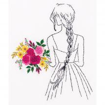Kit di punti da ricamo - Panna - Donna con il bouquet