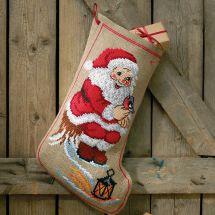 Kit calza di Natale da ricamare - Permin - Babbo natale