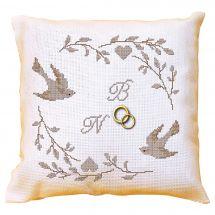 Kit cuscino da ricamo - La planète mauve - Cuscino da ricamare matrimonio uccelli e cuore