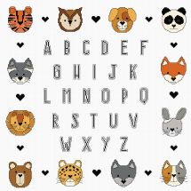 Kit Punto Croce - Princesse - Alfabeto piccoli animali