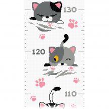 Kit di metri crescita da ricamo - Princesse - Piccoli gatti
