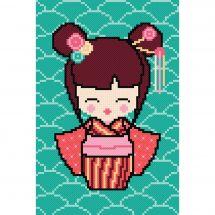 Kit Punto Croce - Princesse - Kokeshi Sakura