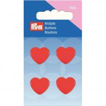 Bottoni di coda - Prym - Lotto di 4 bottoni cuore - 15 mm