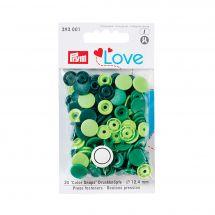 Bottoni a pressione - Prym - 30 bottoni rivettatori verde chiaro/ verde medio/ verde scuro - 12.4 mm