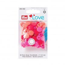 Bottoni a pressione - Prym - 30 bottoni rivettatrici corallo/ rosa/ rosso - 12.4 mm