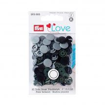 Bottoni a pressione - Prym - 30 bottoni rivettatori grigio chiaro/ kaki/ nero - 12.4 mm