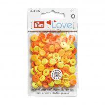 Bottoni a pressione - Prym - 36 bottoni rivettatori 9 mm giallo/ arancione chiaro/ arancione scuro