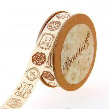 Nastro di cotone su una bobina - Celebrate - Nastro di cotone ecru con etichette - 15 mm x 5 m