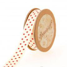 Nastro di cotone su una bobina - Bowtique - Nastro di cotone stampato a pois rossi - 15 mm x 5 m
