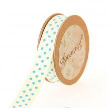Nastro di cotone su una bobina - Bowtique - Nastro di cotone a pois blu - 15 mm x 5 m