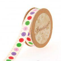 Nastro di cotone su una bobina - Bowtique - Nastro di cotone ecru con bottoni multicolori - 15 mm x 5 m