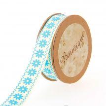 Nastro di cotone su una bobina - Bowtique - Nastro di cotone bianco sporco con fiori blu - 15 mm x 5 m