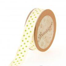 Nastro di cotone su una bobina - Bowtique - Nastro di cotone ecru con punti verdi - 15 mm x 5 m