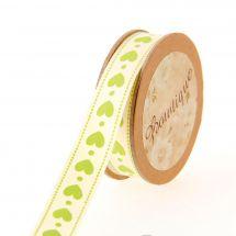Nastro di cotone su una bobina - Bowtique - Nastro di cotone stampato con cuori verdi - 15 mm x 5 m