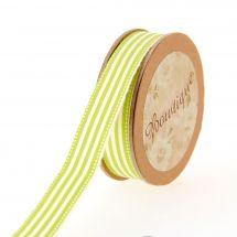 Nastro di cotone su una bobina - Bowtique - Nastro di cotone ecru con strisce bianche/verdi - 15 mm x 5 m