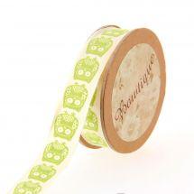 Nastro di cotone su una bobina - Bowtique - Nastro di cotone stampato gufo verde - 15 mm x 5 m