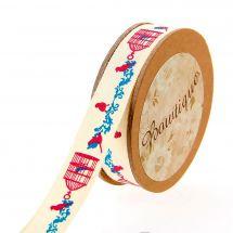 Nastro di cotone su una bobina - Bowtique - Nastro di cotone ecru con stampa a gabbia di uccelli - 15 mm x 5 m