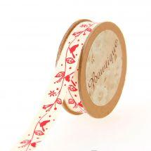 Nastro di cotone su una bobina - Bowtique - Nastro di cotone stampato con uccelli rossi su rami - 15 mm x 5 m