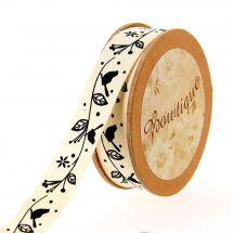 Nastro di cotone su una bobina - Bowtique - Nastro di cotone ecru con uccelli neri su ramo - 15 mm x 5 m