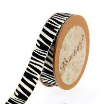 Nastro di cotone su una bobina - Bowtique - Nastro di cotone con stampa zebra - 15 mm x 5 m