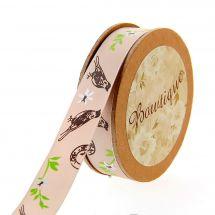 Raso su un rotolo - Bowtique - Raso bifacciale con fiori e uccelli - 15 mm x 5 m