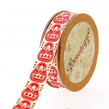 Nastro di cotone su una bobina - Bowtique - Nastro rosso di cotone stampato matriochka - 15 mm x 5 m