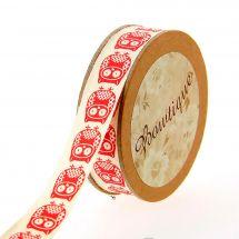 Nastro di cotone su una bobina - Bowtique - Nastro di cotone stampato gufo rosso - 15 mm x 5 m