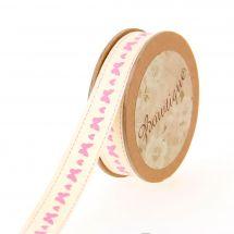 Nastro di cotone su una bobina - Bowtique - Nastro di cotone stampato con farfalle e cuori - 15 mm x 5 m