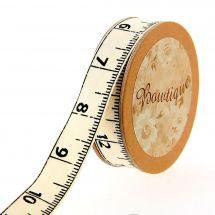 Nastro di cotone su una bobina - Celebrate - Nastro di cotone ecru stampato con un nastro da cucire - 15 mm x 5 m