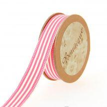 Nastro di cotone su una bobina - Celebrate - Nastro di cotone stampato a strisce rosa/bianco - 15 mm x 5 m