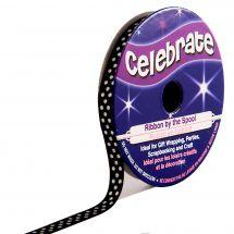 Bobina Grana grossa - Celebrate - Bobina di nastro grana grossa nero con puntini bianchi - 6 mm x 5 m