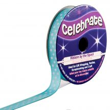 Nastro di cotone su una bobina - Celebrate - Grosgrain blu cielo con punti bianchi - 9 mm x 5 m