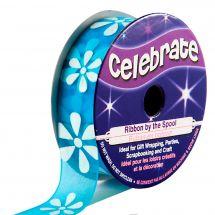 Organza su un rotolo - Celebrate - Organza blu con stampa di fiori bianchi - 15 mm x 3,5 m