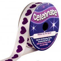 Raso su un rotolo - Celebrate - Raso bianco con stampa cuore viola - 16 mm x 4 m