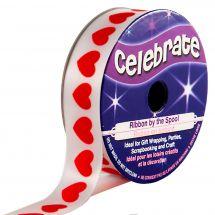Raso su un rotolo - Celebrate - Raso bianco con stampa cuore rosso - 16 mm x 4 m