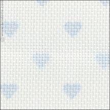 Tela da ricamo - LMC - Tela Aïda 5.5 a cuori blu in tagliando o in metra