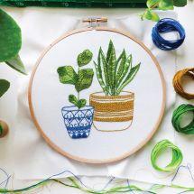 Kit per ricamo a tamburo - Tamar Nahir Yanai - Piante da appartamento blu e verdi